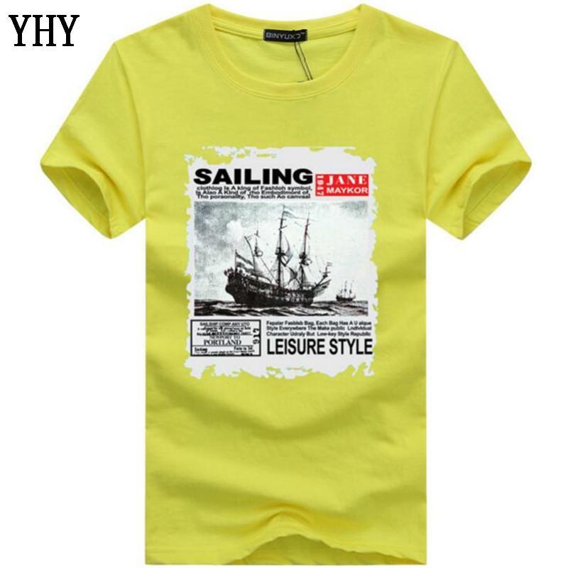Männer-T-Shirts Sommer-Art- und Segel drucken lustiges T-Shirt Männer-T-Shirt beiläufig Hip Hop O-Ausschnitt Kurzarm-T-Shirt Male HC-4