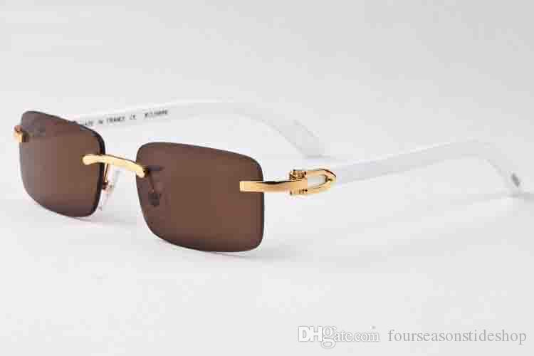 2019 Designer Buffalo Horn Mens Retro Wood Sunglasses Mens and Womens Black Brown Transparent Lens Frameless brand designer Driving Glass