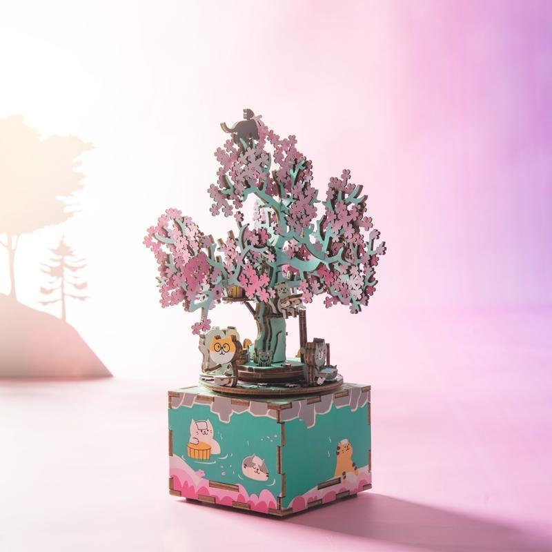 Robotime 148pcs Rotatable DIY 3D Cherry Tree Cat Puzzle De madeira jogo montagem de Música Caixa De Brinquedos Para Crianças Adulto Am409 Y200414