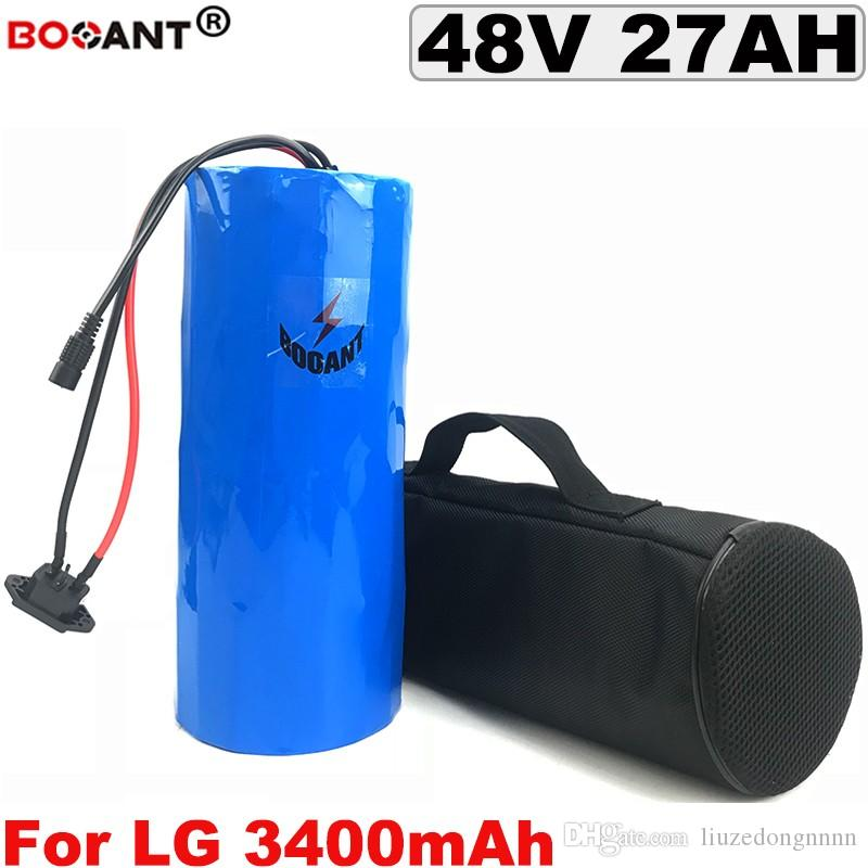 48V 27AH Lithium-Ionen-Akkupack für 8FUN 1200W für Original LG 18650 Zelle 13S 48V elektrische Fahrradbatterie mit einem Bag + 5A-Ladegerät