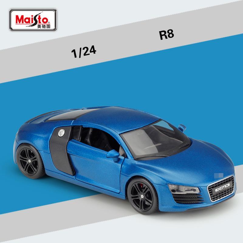 مايستو دييكاست سبيكة AOD R8 نسخة معدلة نموذج لعبة، السيارات الرياضية، 1:24 مقياس حلية، لعيد الميلاد كيد عيد ميلاد صبي هدية، جمع، 2-1