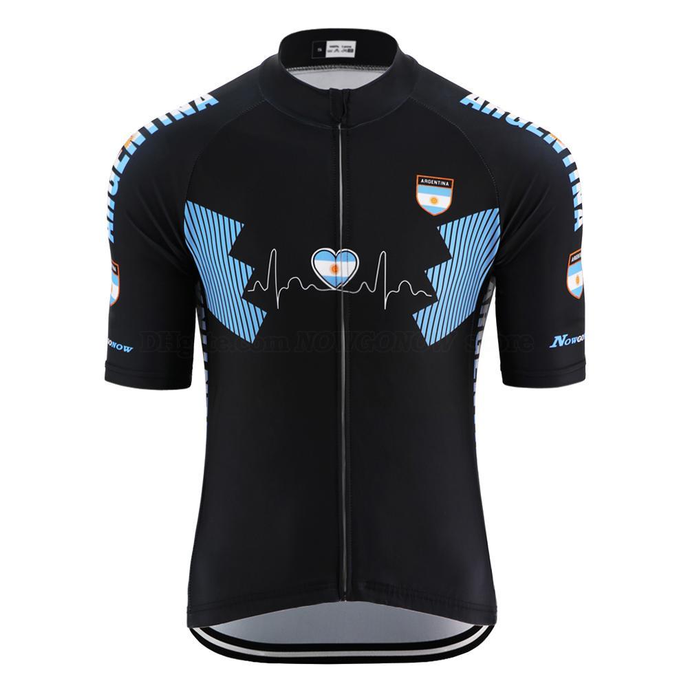 여름 고품질 아르헨티나 블랙 사이클링 저지 남자 트라이 애슬론 꽉 저지 복고풍 도로 자전거 의류 자전거 의류 탑을 경주