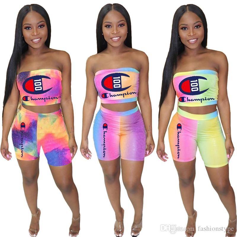 Women Designer Two Piece Set Rainbow Tie-dye Champion Strapless Crop Tube Top + Biker Shorts Brand Outfit Bodycon Sportswear jog Suit