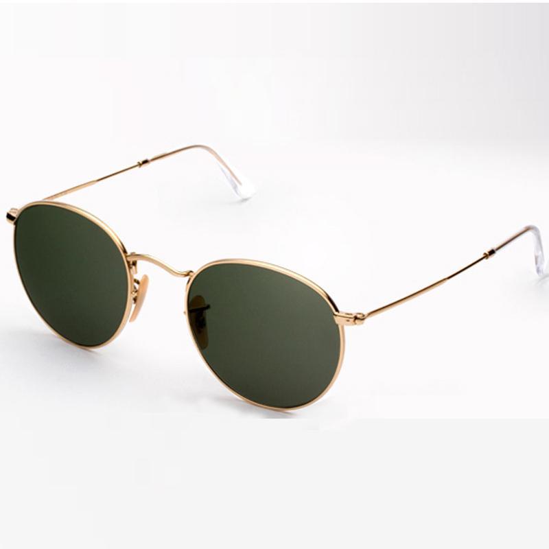 Lunettes de soleil luxury- femmes protection 50mm métal lunettes de soleil classiques rondes rétro vintage design de la marque de luxe lunettes originales de Freebox