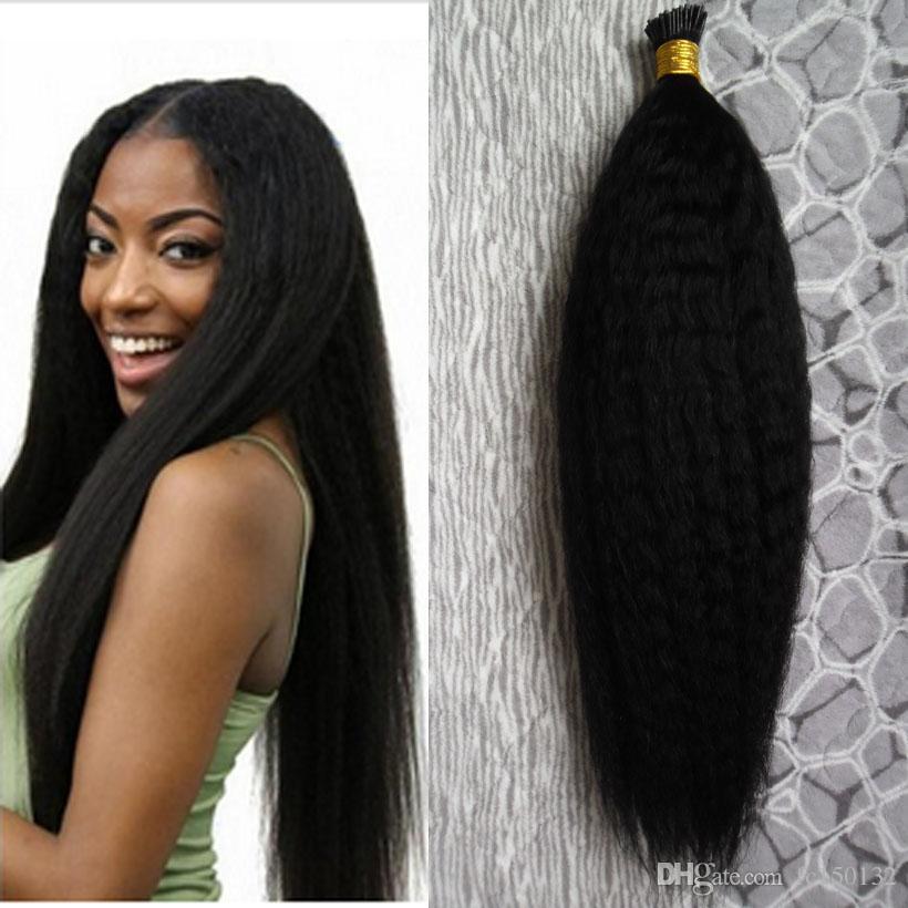 Coarse yaki I Tip Haarverlängerungen 100 g / Strähnen 100% unverarbeitetes reines brasilianisches Haar verworrene gerade vorgebundene Kapseln Haarverlängerung