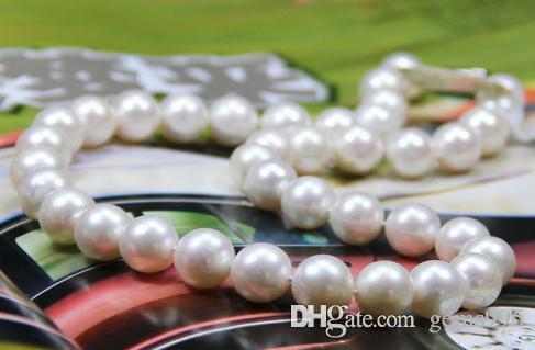 círculo perfecto 11-12m m encantador blanco del Mar del Sur collar de perlas naturales de 18 pulgadas S925