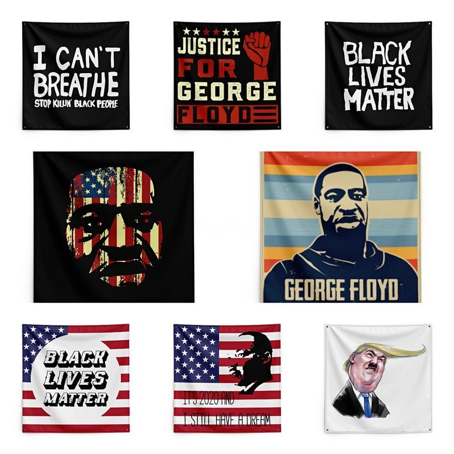 Gerechtigkeit für George Floyd Druck Tapestry Schwarz Lives Matter Haushalt Wand Banner 150 * 150cm # QA17745