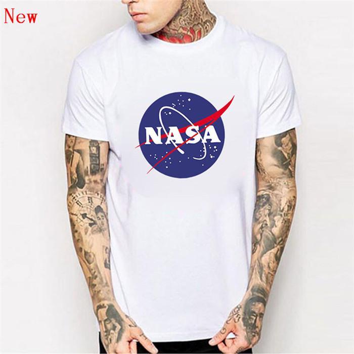 Logotipo da NASA Impressão T-shirt Dos Homens Novos de Verão de Manga Curta de Algodão camisa dos homens t Designer de Marca Casual Roupas de Fitness Tops Tees ZG9