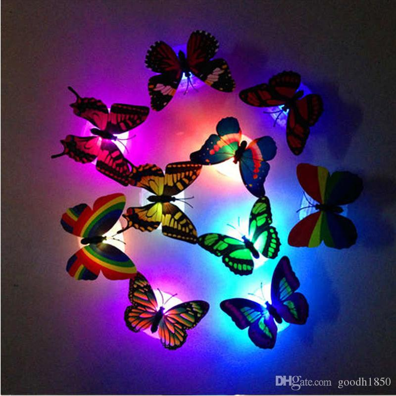 Lovely LED Night Light Colorful Changing Beautiful Butterfly Romantic Lamp Home Room Party Desk Wall Decor Decorative lamps