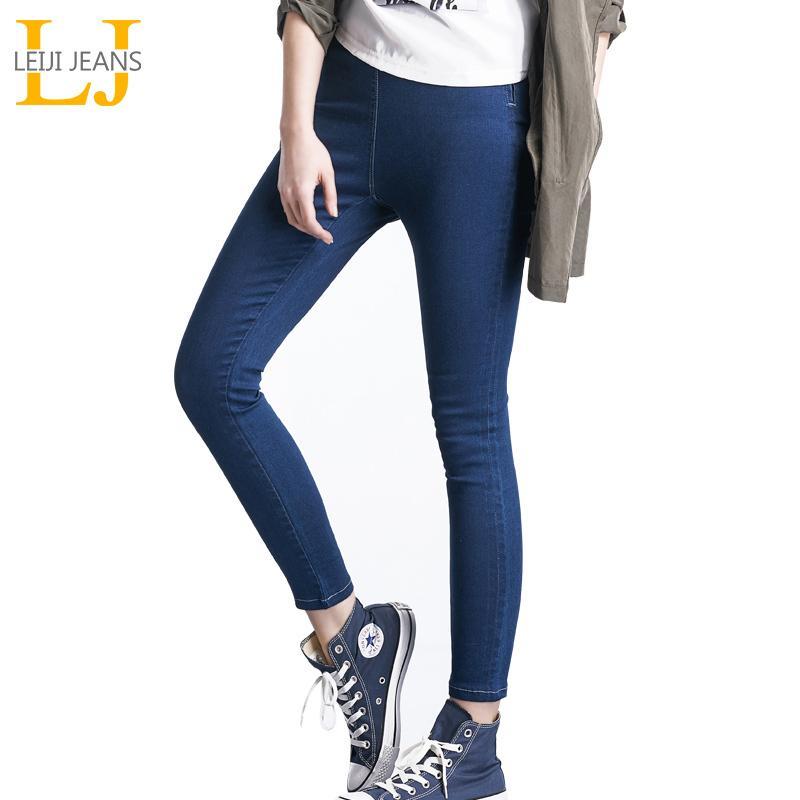 LEIJI Jeans de moda 4 colores con polainas de cintura alta Cintura elástica para mujer Stretch Denim Plus Size Skinny Pencil Jeans mujer T190604