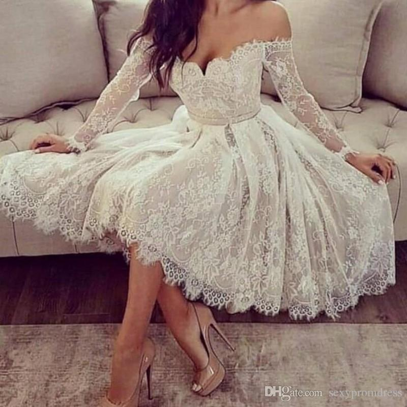 Lace Short Wedding Dresses 2019 Off Shoulder Sheer Long Sleeves Cheap Bridal Dress Tea Length Simple Beach Wedding Dress