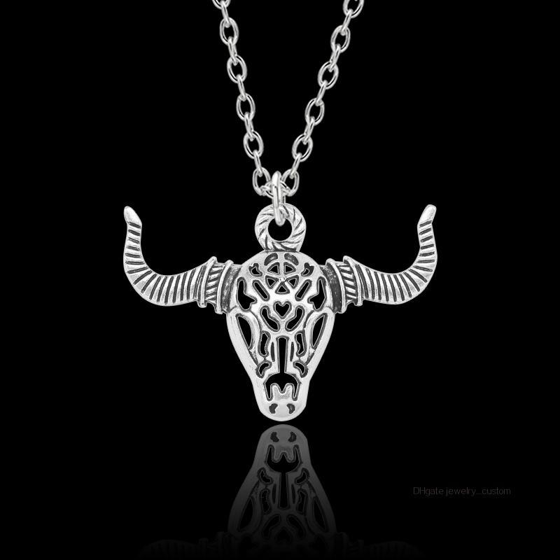 Punk Vintage Cow Head collier pour Hommes Petits garçons creux Animal mâle métal Retro pendentif Colliers Hip-hop Bijoux Parti Dropshipping