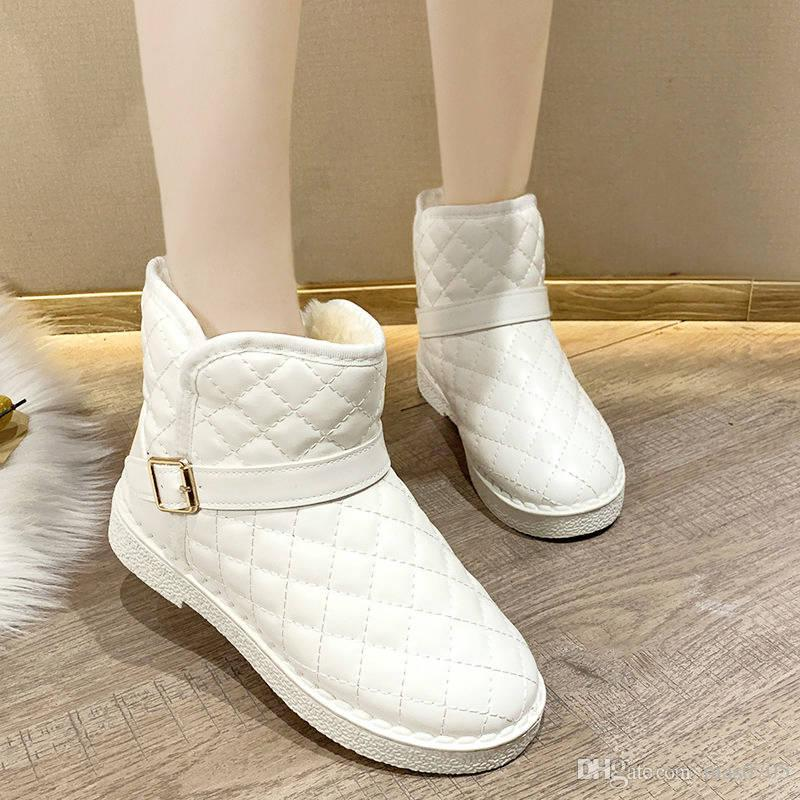 20191115 New winter snow boots, flat sole, short tube, plush and low top cotton shoes