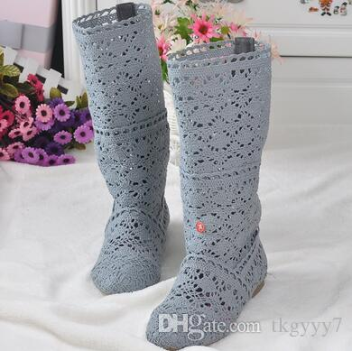 Hot! 2019 summer cow muscle slip-resistant handmade knitted crochet boots high-leg boots Size 40 41