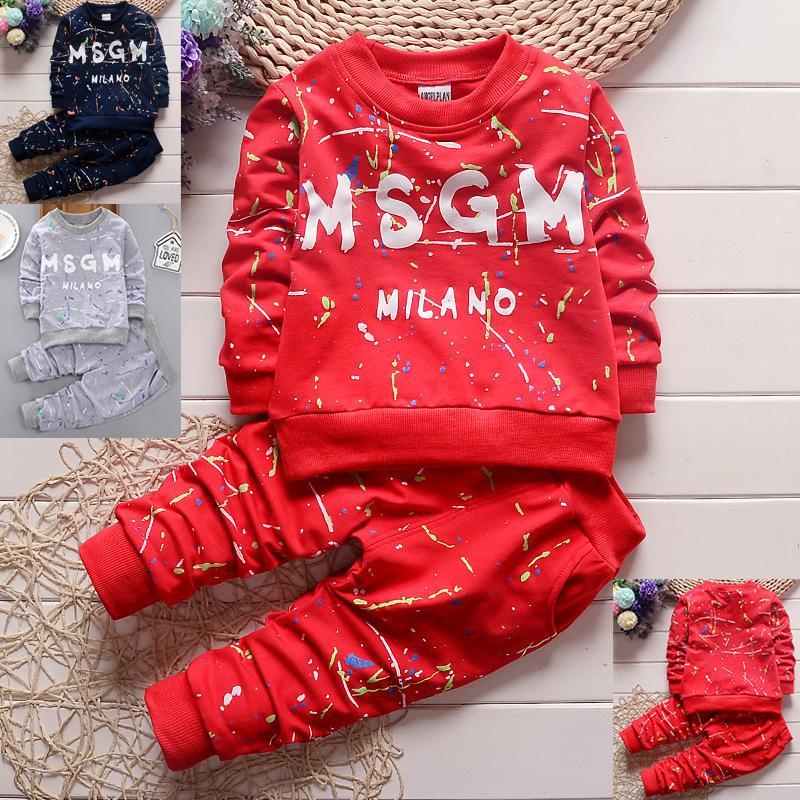 3 Renkler Toddler Bebek Giysileri T Gömlek + Pantolon Çocuk Spor Giyim Çocuk Giyim Sonbahar Çocuk Tasarımcı Giysi Erkek Kız Setleri 1-4Y Kulakları