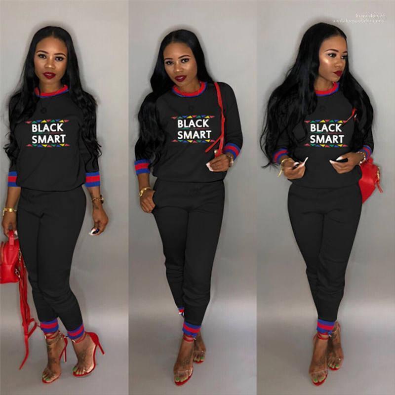 Sport Set mit aufgedrucktem Female Outfits der beiläufigen Frauen Bekleidung Fashion Black Smart Women 2ST Hosen