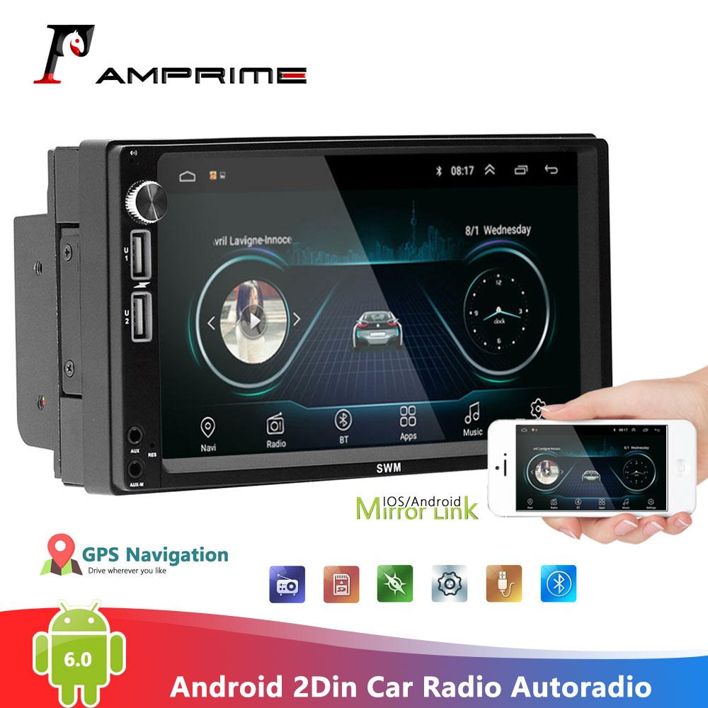 "Android 6.0 Car Radio WiFi 2Din 7/"" HD GPS Navi Car Stereo MP5 Player FM Radio"