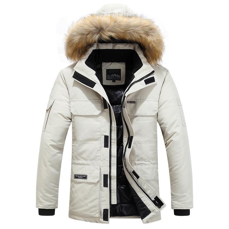 Erkekler Kış Ceket Faux Kürk Yaka Palto Kalınlaşmak Aşağı Ceket Açık Kapşonlu ceket Aşağı Mens Artı boyutu M-6XL Isınma