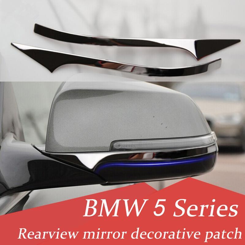 2pcs acier inoxydable Rétroviseur intérieur bandes décoratives Car Styling autocollants Extérieur 3D pour BMW Série 5 F10 F18 2011-2017 Accessoires Auto