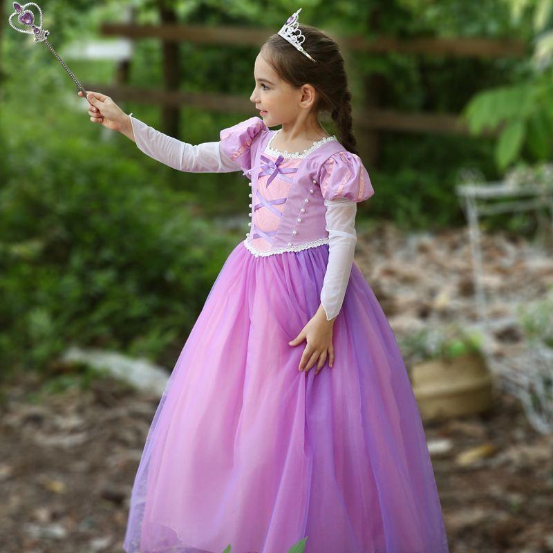 Retail kids designer dress girls Puff Sleeve long hair princess dress Children Christmas costumes party prom dress boutique clothes 50% off
