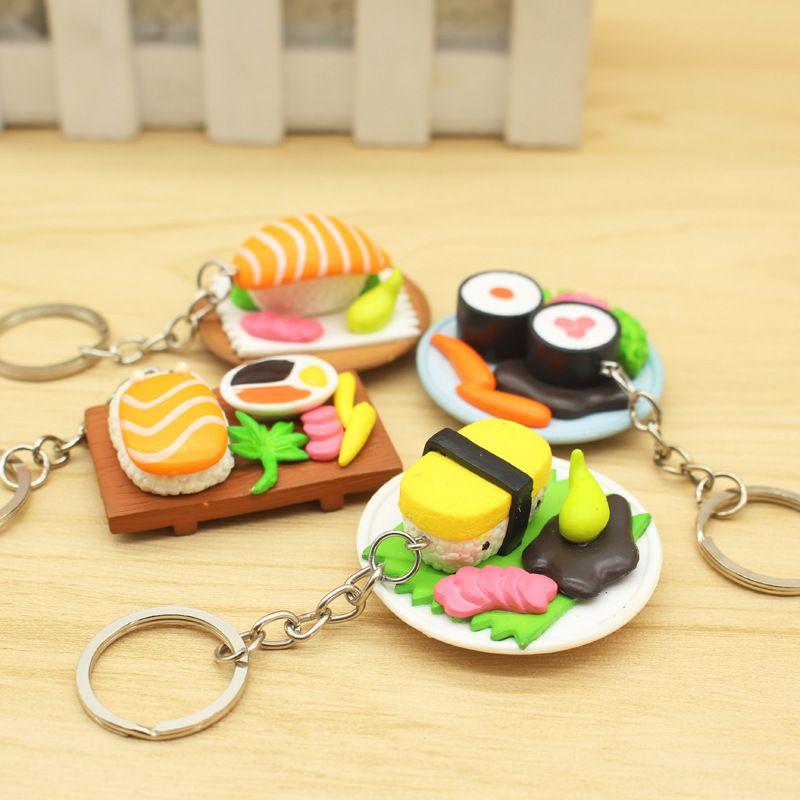 مطبخ جديد السوشي محاكاة السلمون الغذاء مفتاح سلسلة قلادة هدية الإبداعية إرسال اللون عشوائيا
