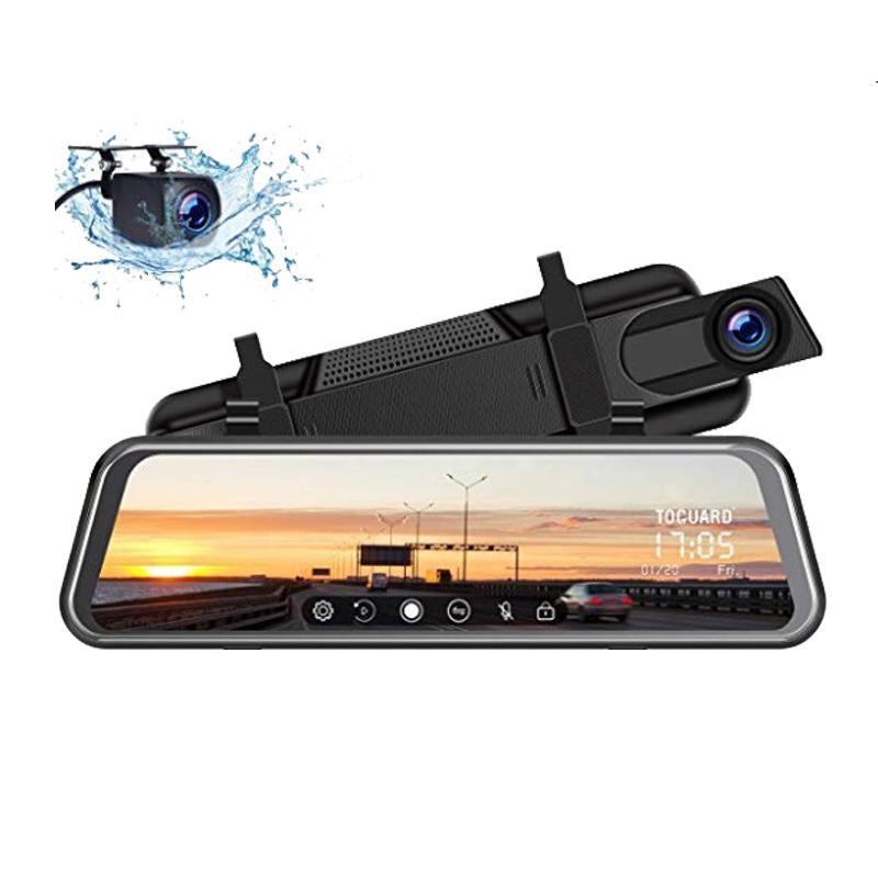 10-дюймовый зеркало заднего вида автомобиля DVR двойной объектив видео рекордеры черточки Cam FHD 1080P автомобиль видеокамера парковки монитор Recorder