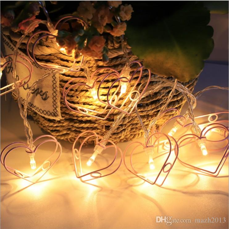 Sxi secuencia de la batería Luces de 1,5 metros Craft forma de corazón de luces de colores para fiesta del árbol del partido decorativo Yard Jardín habitación de los niños de estar