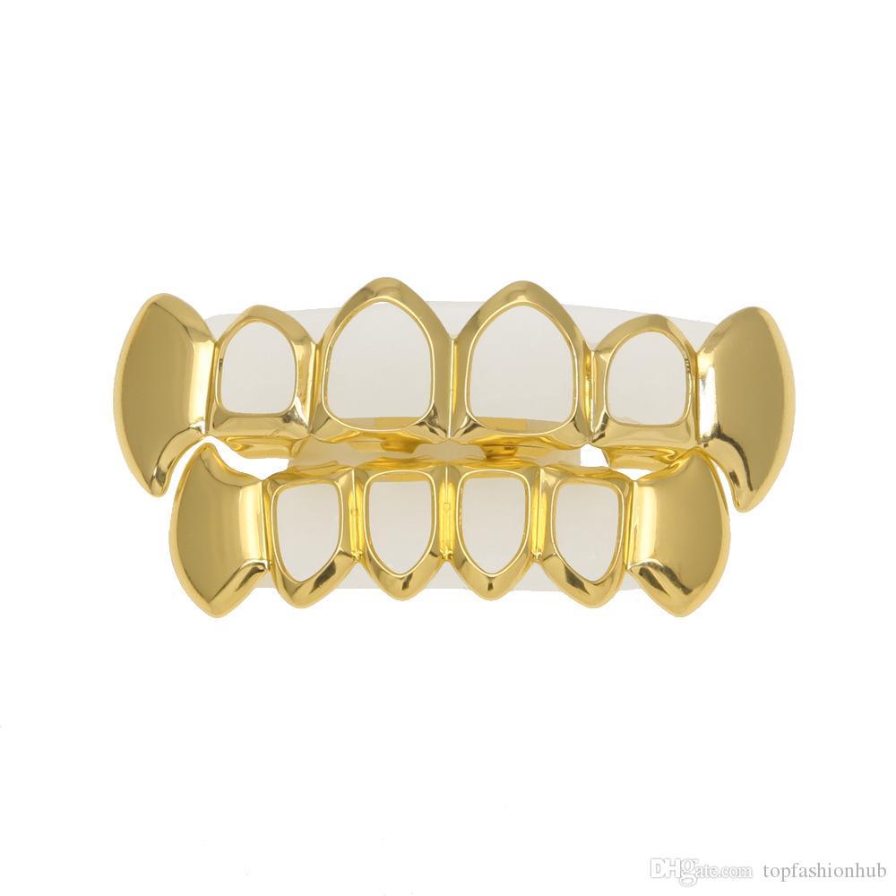 Hip Hop Personalidad Colmillos Dientes Oro Dientes de plata Grillz Oro Dientes falsos Establece Parrillas de vampiro Parrillas dentales Joyería Caliente