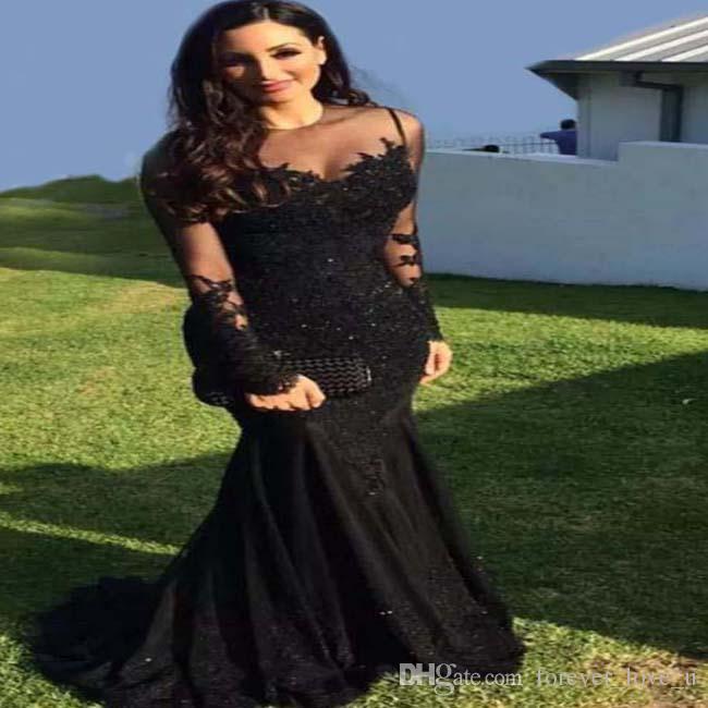 긴 소매 온라인 쇼핑 블랙 인어 우아한 전체 그림 DuBai 이브닝 드레스 섹시한 아랍어 보석 목 Appliques 파티 드레스