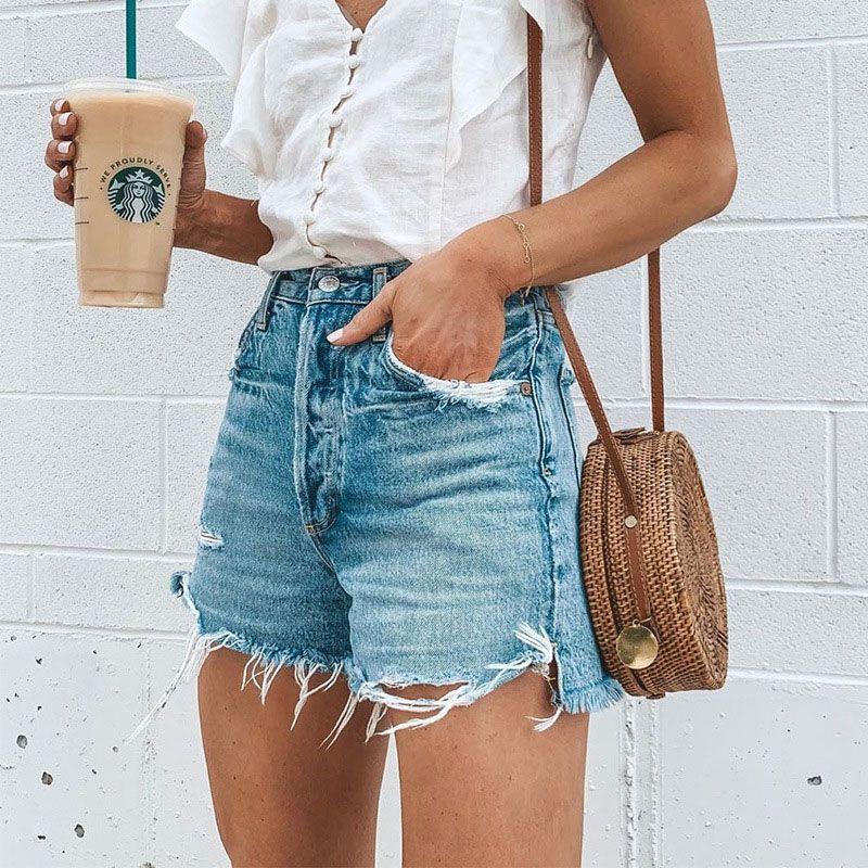 De moda los pantalones calientes del verano suelta el botón del agujero marginales de las mujeres los pantalones cortos luz azul retro Street pantalones cortos de mezclilla mujeres más el tamaño