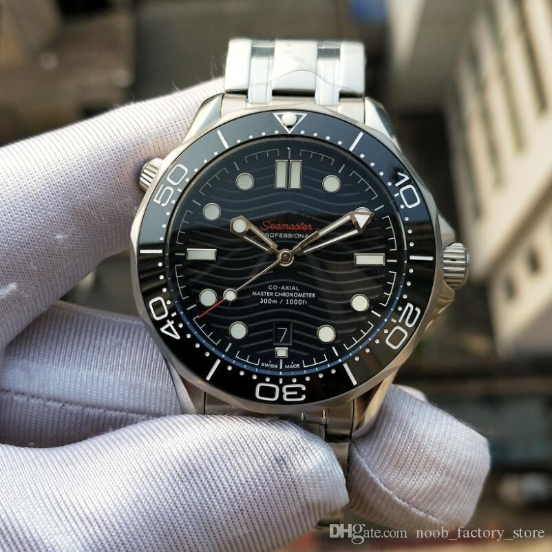 Fábrica de lujo Ventas Negro Dial de calidad superior 600M correa de acero inoxidable Cal. 8800 movimiento automático de los hombres del reloj de 007 hombres de la muñeca del deporte Watche