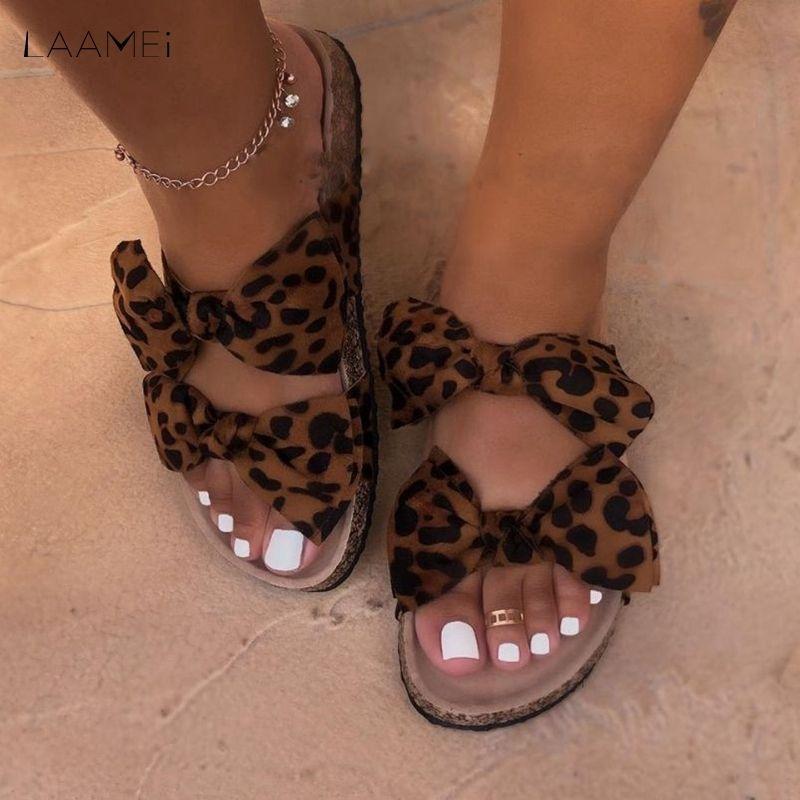 Laamei Bow Leopard Women Slipper Summer Open Toe Platform Ladies Fashion Hollow Light Slip On Sandals Woman Shoes Y200405