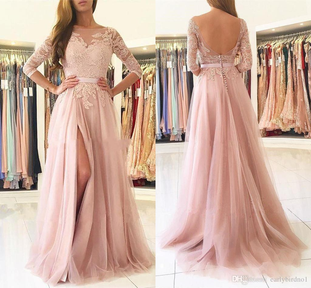 New Blush Pink 3/4 Long Sleeves Split Long Bridesmaids Dresses Sheer Neck Appliques Lace Maid of Honor Country Wedding Guest Gowns Cheap