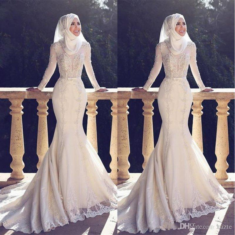 Muslim Pakistan Middle East Mermaid Wedding Dresses High Neck White Applique Lace Long Sleeved Bridal Wedding Gowns Silver Wedding Dress Wedding Dress