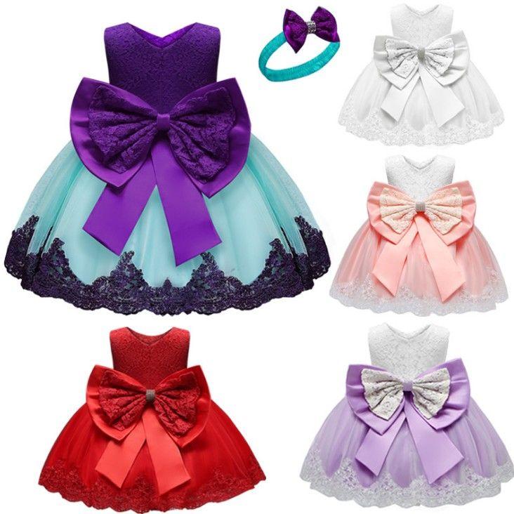 Vestido infantil do bebê Princess Dress Melhor Venda Moda Bola bordado festa de anos das meninas Vestido Para Childrens mangas Com Bow