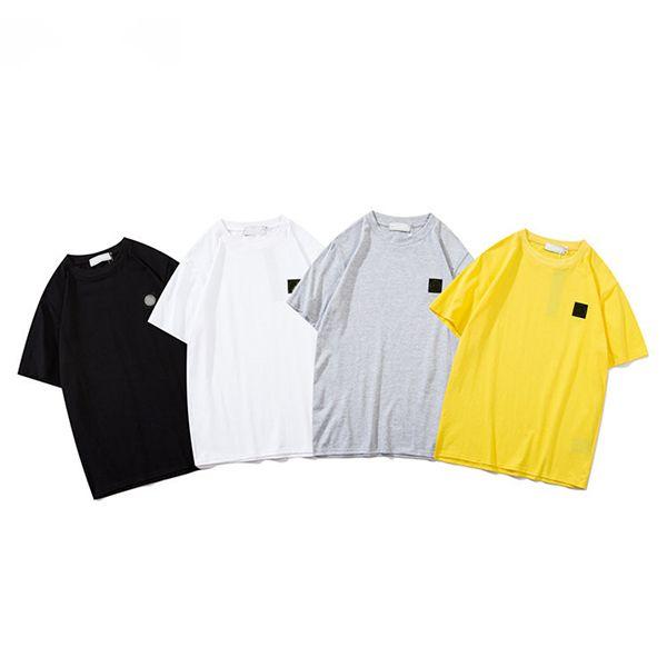 رجل 2020 INS المد العلامة التجارية حجر جزيرة T قميص رجل بلون المحملة الرجال والنساء زوجين قصيرة الأكمام أزياء عارضة فضفاض المحملة