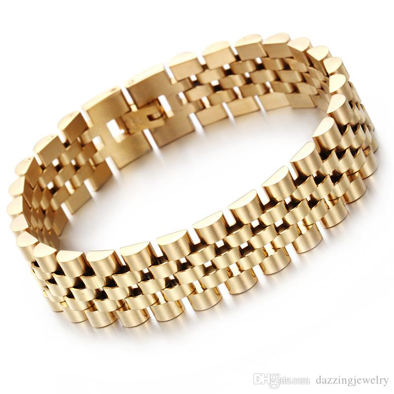 High polished brand men's stainless steel chain bracelet silver gold watch strap band bangle bracelets jewelry