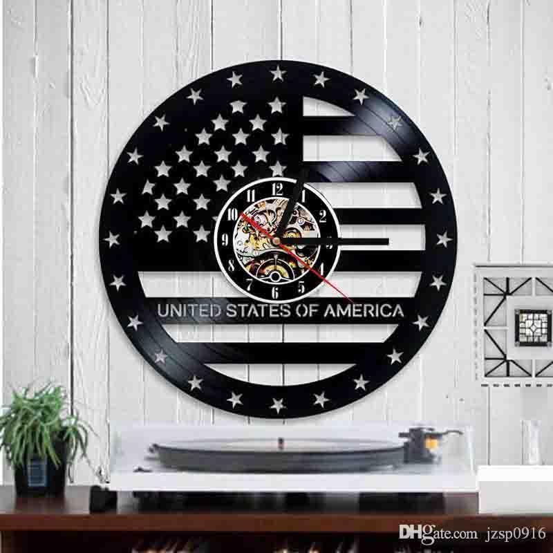 Amerikanischer Flagge Vinyl Personality Akte Wanduhr Home Decor handgemachte Kunst-Personality-Geschenk (Größe: 12 Zoll, Farbe: Schwarz)
