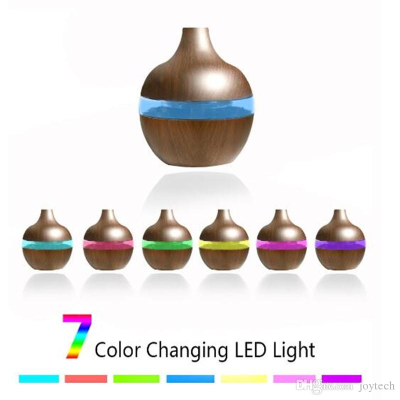 200ml Aroma Huile Essentielle Diffuseur d'air ultrasonique Humidificateur Purificateur bois forme de grains 7colors LED à couleurs changeantes pour la maison de bureau