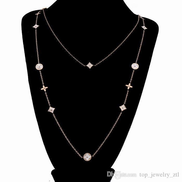Long Necklace Women Mother Of Pearl Clover Sweater Chains Vintage Woman Party Charm Necklaces Valentine'S Day Gift Jewelry 90cm