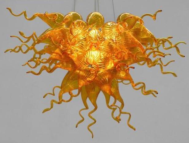 Vintage lampadario appeso soffiato vetro ambrato con illuminazione a sospensione Home Decor lampade di prezzi poco costosi di stile di Murano a mano Lampadario in vetro