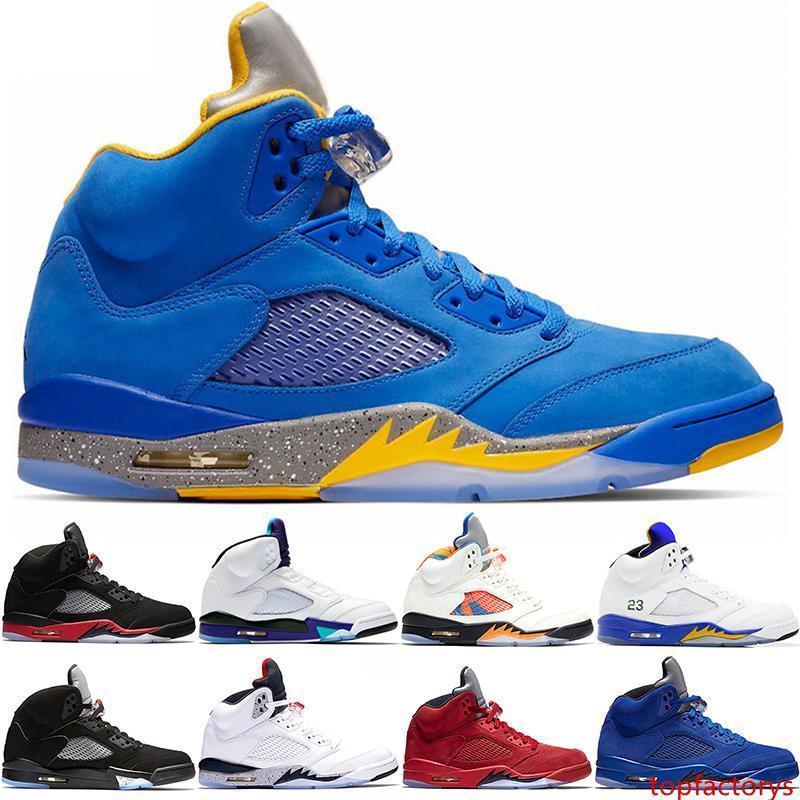 2019 Homens 5 5s tênis de basquete Bred Grape Fire Red Laney Azul Suede Branco Cimento Mens Esporte sapatos Designer Sneakers Trainers Tamanho 8-13