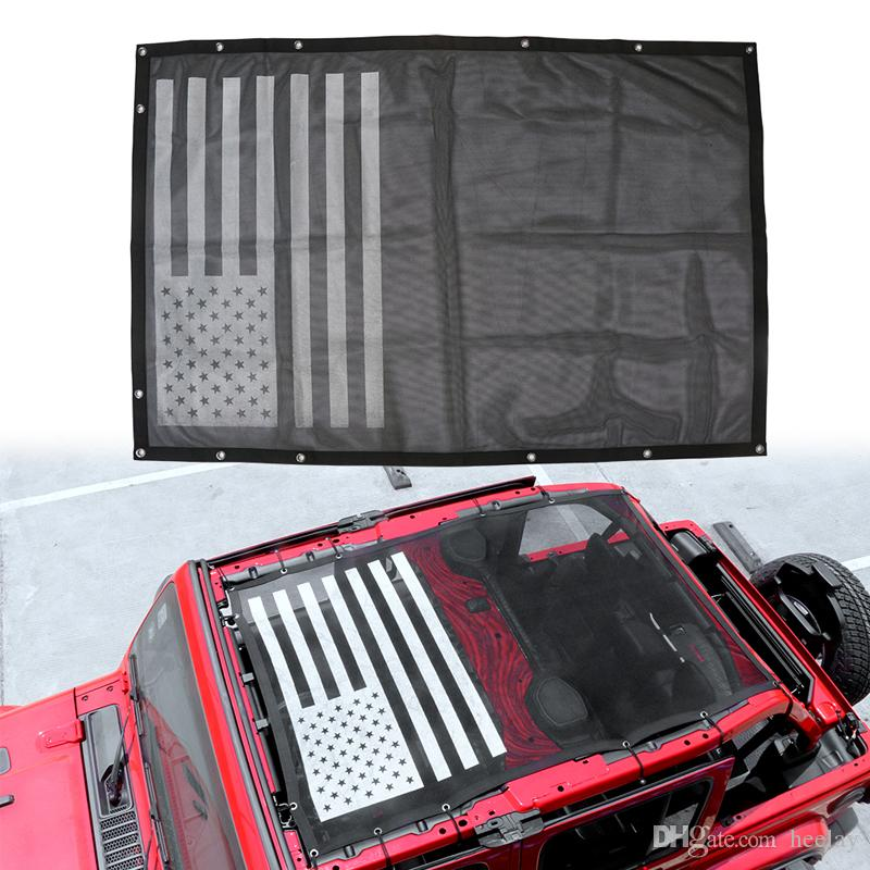 Camoo for Jeep JL Sun Shade Mesh Shade Top Cover with USA Flag Image Fits Jeep Wrangler JL 2018 2019 4-Door