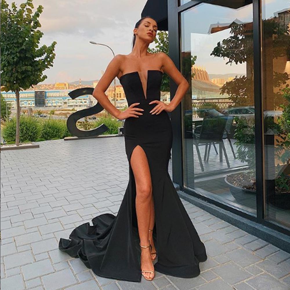 Basit Siyah Saten Mermaid Abiye Kat Süre Kadınlar Partisi Abiye Uzun Gelinlik Modelleri 2020 vestidos Largos fies