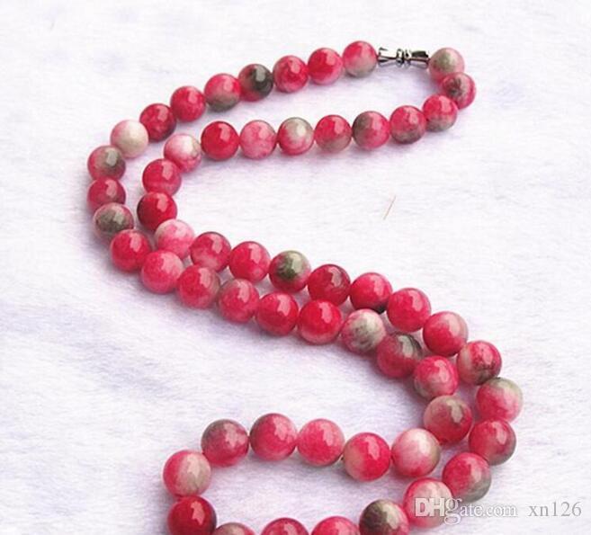 Commercio all'ingrosso di New 8 millimetri naturale di colore della caramella Peach pietra rossa e gioielli di cristallo di zaffiro verde rosa rotonda Donne collana di perline