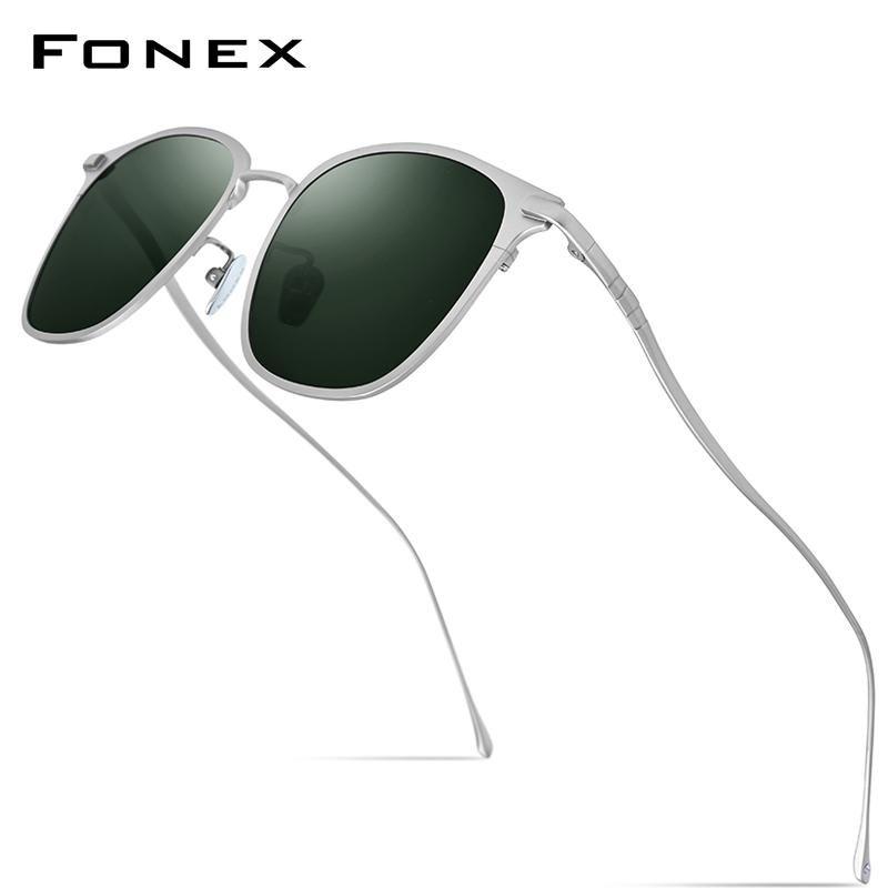 FONEX Reintitan-Sonnenbrille-Männer 2020 neue Art und Weise Retro Vintage-Platz-Qualitäts-polarisierte Uv400 Damen-Sonnenbrillen 8522 xrKHd