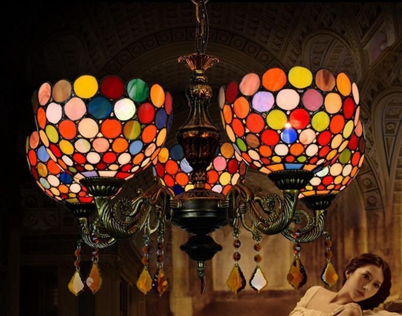 lampade creative europee retrò Tiffany Stained Glass luci decorative bar ristorante soggiorno illumina bohemien ciondolo lightin 5 testa