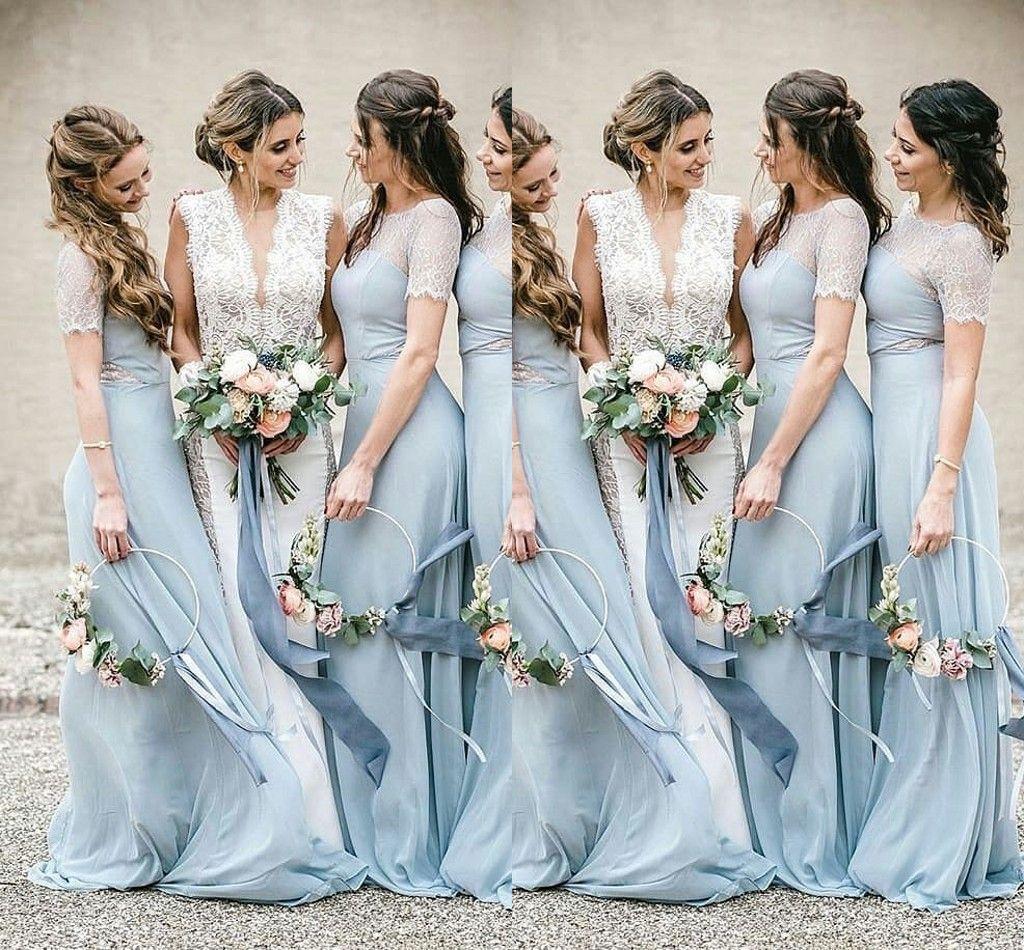 Brautjungfer kleid kurz hellblau
