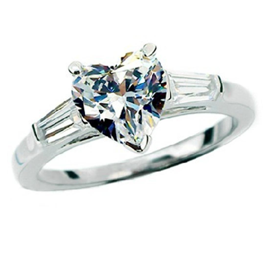 Обручальное кольцо F VS1 Test Positive стерлингового серебра 2CT Муассанит Сердце бриллиантового кольца Лестницы для женщин Свадьбы Сердца ювелирных изделий 925