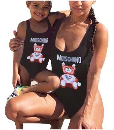 الأم وأنا ملابس السباحة الأسرة المطابقة الطفلات النساء لطيف الكرتون مصمم طباعة الأم فتاة واحدة قطعة ملابس الاستحمام